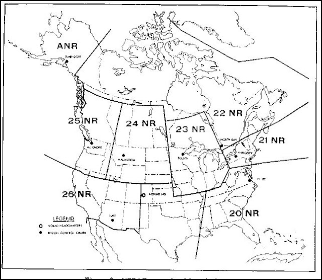 A map of the NORAD sectors for air defence