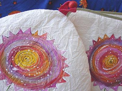 tkaniny na stół ręcznie malowane