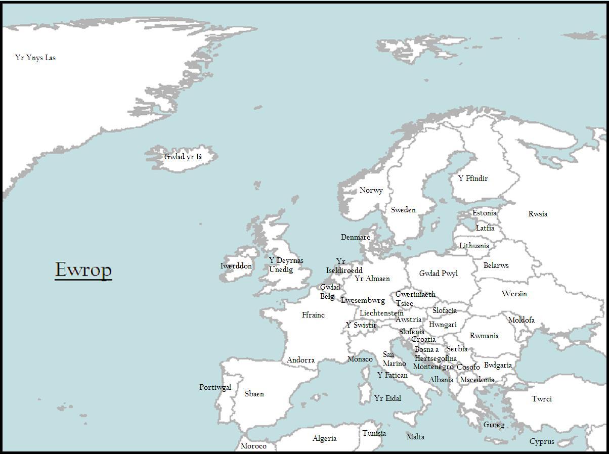 Maps Ewrop yn Gymraeg  Europe in Welsh