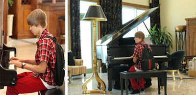 Justin Bieber Playing Piano