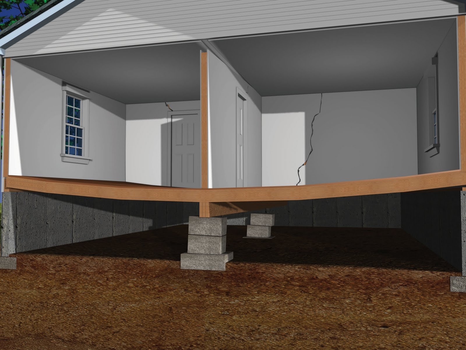 Lowcountry basement systems sagging beams or floor joists for How to build a crawl space foundation for a house