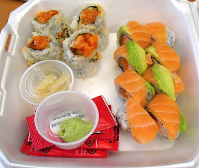 Rolls n Sushi, Spicy Salmon and Boston Roll