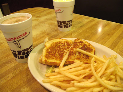 Burgermaster turkey sandwich with fries and shakes