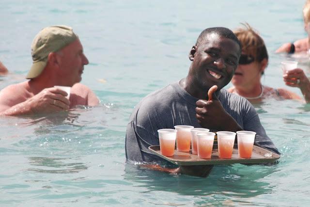 Rum Service at Beach