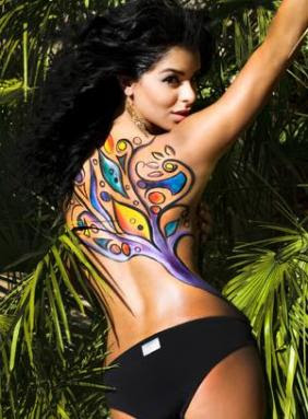Miss Universe Contestant : Rima Fakih with Body Painting Natural Style