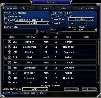 LOTRO Fellowing UI