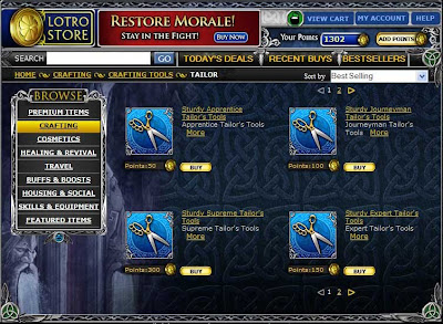 LOTRO Store Crafting Items