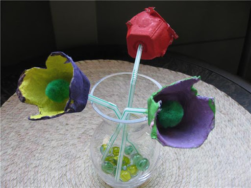 egg carton flowers, how to make egg carton flowers