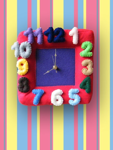 nursery clock, kids clock, felt clock, handmade clock, etsy clock, handmade felt clock, eco-friendly clock
