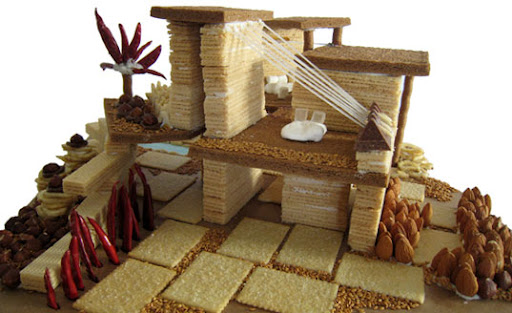 eco-friendly gingerbread house, modern gingerbread house