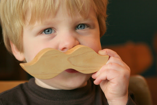 wooden teether, moustache teether, little alouette