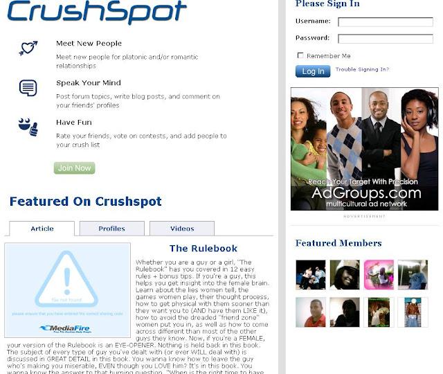 Login to Crushspot.Com, Meet New People Online - www.CrushSpot.com