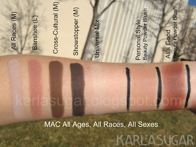 MAC, All Ages, All Races, All Sexes, swatches, Banshee, Cross-Cultural, Cross Cultural, Showstopper, Universal Mix, Personal Style, All's Good