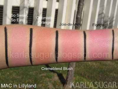 MAC, Lillyland, swatches, Cremeblend, So Sweet, So Easy, Optimistic Orange, Joie-de-Vivre, Florida