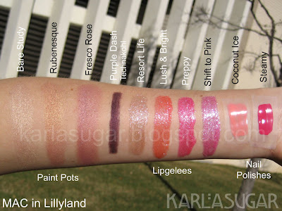 MAC, Lillyland, swatches, Bare Study, Rubenesque, Fresco Rose, Purple Dash, Resort Life, Lush & Bright, Preppy, Shift to Pink, Coconut Ice, Steamy