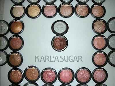 MAC, Mineralize Skinfinish, MSF, Lightscapade, New Vegas, Pleasureflush, Soft & Gentle, Shimpagne, Naked You, Gold Spill, Porcelain Pink, Glissade, Petticoat, Light Flush, Stereo Rose, Northern Light, Global Glow, Warmed, Shooting Star, So Ceylon, Gold Deposit, Metal Rock
