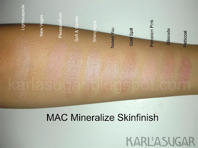 MAC, Mineralize Skinfinish, MSF, swatches, Lightscapade, New Vegas, Pleasureflush, Soft & Gentle, Shimpagne, Naked You, Gold Spill, Porcelain Pink, Glissade, Petticoat