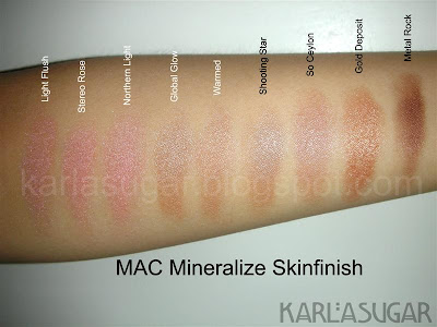 MAC, Mineralize Skinfinish, MSF, swatches, Light Flush, Stereo Rose, Northern Light, Global Glow, Warmed, Shooting Star, So Ceylon, Gold Deposit, Metal Rock