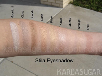 Stila, eyeshadow, swatches, Moonlight, Cloud, Sparkle, Oasis, Prize, Kitten, Launey, Starlight, Shell