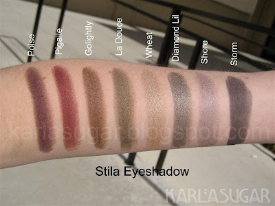 Stila, swatches, Poise, Pigalle, Golightly, La Douce, Wheat, Diamond Lil, Shore, Storm