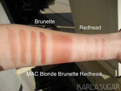 MAC, Blonde, Brunette, Redhead, BBR, swatches