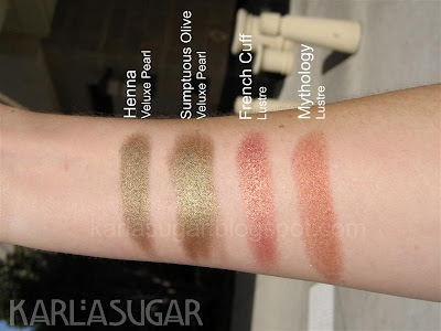 MAC, Blonde, Brunette, Redhead, BBR, swatches, comparison, Henna, Sumptuous Olive, French Cuff, Mythology