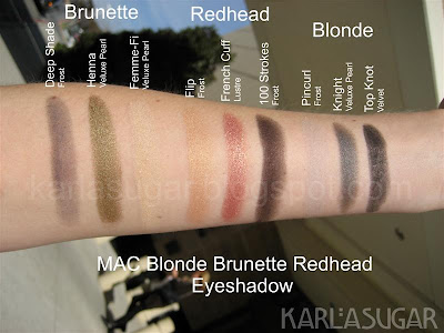 MAC, Blonde, Brunette, Redhead, BBR, swatches, Deep Shade, Henna, Femme Fi, Flip, French Cuff, 100 Strokes, Pincurl, Knight, Top Knot