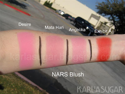 NARS, blush, swatches, Desire, Mata Hari, Angelika, Exhibit A