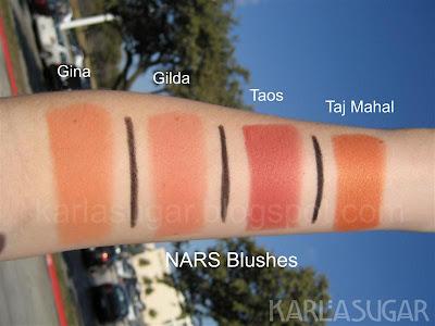 NARS, blush, swatches, Gina, Gilda, Taos, Taj Mahal