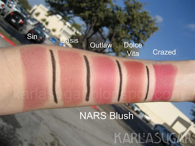 NARS, blush, swatches, Sin, Oasis, Outlaw, Dolce Vita, Crazed