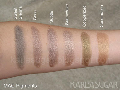 MAC, pigment, swatches, Sweet Sienna, Coco, Subtle, Sunnydaze, Copperized, Cocomotion