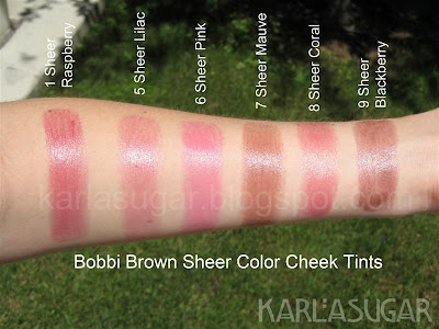 Bobbi Brown, Sheer Color Cheek Tints, swatches, Sheer Raspberry, Sheer Lilac, Sheer Mauve, Sheer Coral, Sheer Blackberry, Sheer Pink