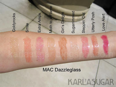MAC, Dazzleglass, swatches, Goldyrocks, Smile, Extra Amps, Moth to a Flame, Girl's Delight, Sugarrimmed, Steppin' Out, Utterly Posh, Love Alert
