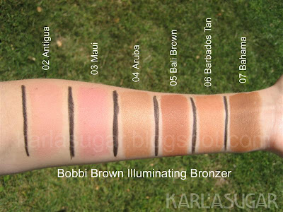 Bobbi Brown, swatches, Illuminating Bronzer, Aruba, Maui, Bali Brown, Barbados Tan, Antigua, Bahama