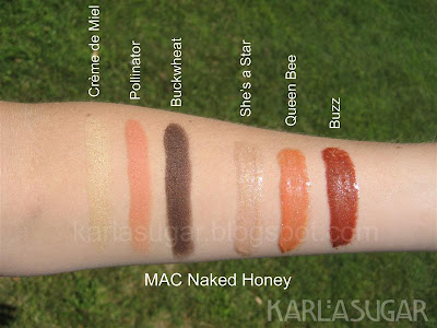 MAC, Naked Honey, swatches, Creme de Miel, Buzz, She's a Star, Queen Bee, Pollinator, Buckwheat