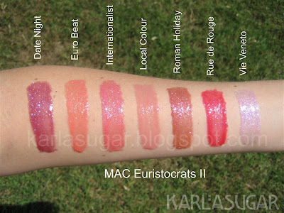 MAC, Euristocrats II, swatches, Date Night, Euro Beat, Internationalist, Local Colour, Roman Holiday, Rue de Rouge, Vie Veneto