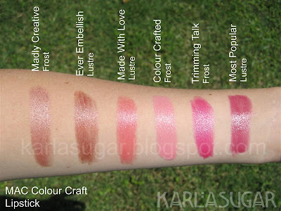 MAC, Colour Craft, Color Craft, swatches, lipstick, Madly Creative, Ever Embellish, Made With Love, Colour Crafted, Color Crafted, Trimming Talk, Most Popular