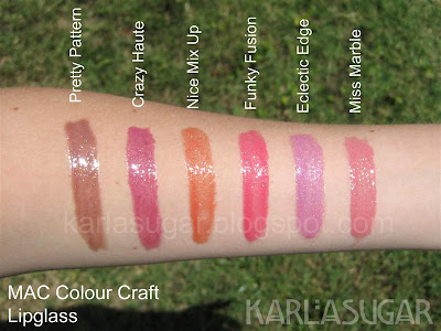 MAC, Colour Craft, Color Craft, swatches, lipgloss, lipglass, Pretty Pattern, Crazy Haute, Nice Mix Up, Funky Fashion, Eclectic Edge, Miss Marble
