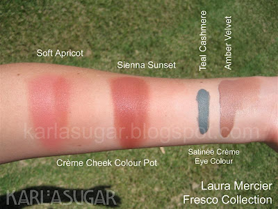 Laura Mercier, Fresco, swatches, Soft Apricot, Sienna Sunset, Teal Cashmere, Amber Velvet, cream blush, Cream Cheek Color Pots, Creme Cheek Colour Pots, Satinee Creme Eye Colour
