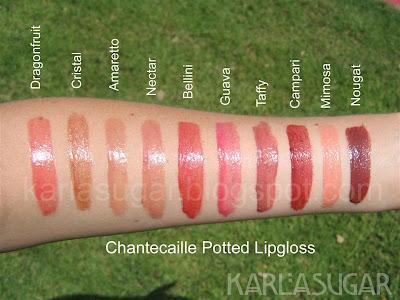 Chantecaille, lipgloss, gloss, pot, swatches, Dragonfruit, Cristal, Amaretto, Nectar, Bellini, Guava, Taffy, Campari, Mimosa, Nougat