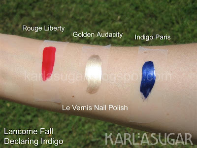 Lancome, Declaring Indigo, swatches, vernis, nail, polish, Golden Audacity, Indigo Paris, Rouge Liberty