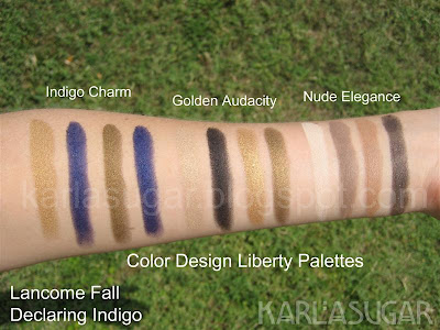 Lancome, Declaring Indigo, swatches, palettes, Nude Elegance, Golden Audacity, Indigo Charm, eyeshadow, Color Design, Liberty Palettes
