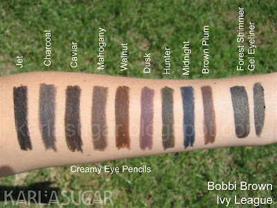 Bobbi Brown, Ivy League, swatches, eyeliner, Forest Shimmer Ink, Forest Shimmer, Jet, Charcoal, Long-wear, Gel, Creamy Eye Pencils, Caviar, Mahogany, Walnut, Dusk, Midnight, Brown Plum