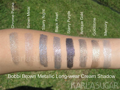 Bobbi Brown, Metallic, Long-wear, Cream Shadow, Chrome Patina, Brown Metal, Starry Night, Black Pearl, Starry Purple, Antique Gold, Goldstone, Mercury