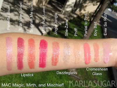 MAC, Magic, Mirth, Mischief, swatches, Pervette, Total Wow!, Surprise Me, Utter Fun, Jingle Jangle, She-Zam, Pfiff!, Partial to Pink, Boy Bait, Ever So Rich, dazzleglass, cremesheen glass