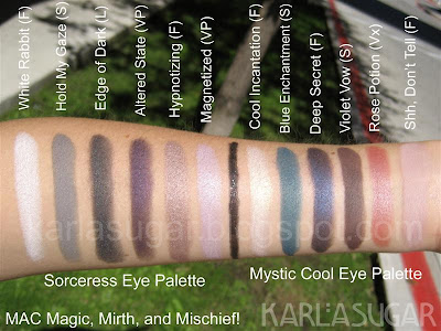 MAC, Magic, Mirth, Mischief, swatches, Sorceress, White Rabbit, Hold My Gaze, Edge of Dark, Altered State, Hypnotizing, Magnetized, Mystic, Cool Incantation, Blue Enchantment, Deep Secret, Violet Vow, Rose Potion, Shh Don't Tell