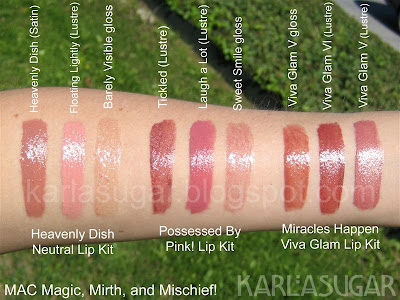 MAC, Magic, Mirth, Mischief, swatches, lip palettes, Heavenly Dish, Floating Lightly, Barely Visible, Possessed by Pink!, Tickled, Laugh a Lot, Sweet Smile, Viva Glam, VGV, VGVI