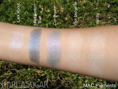 MAC, pigment, swatches, Lark About, Bell Bottom Blue, Cornflower, Your Ladyship, Vanilla
