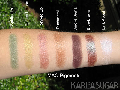 MAC, pigment, swatches, Spiritualize, Golden Lemon, Revved Up, Rushmetal, Smoke Signal, Blue-Brown, Lark About