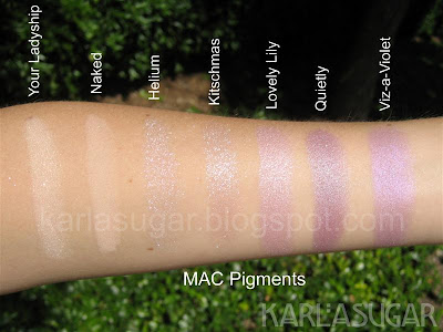 MAC, pigment, swatches, Your Ladyship, Naked, Helium, Kitschmas, Lovely Lily, Quietly, Viz-a-Violet